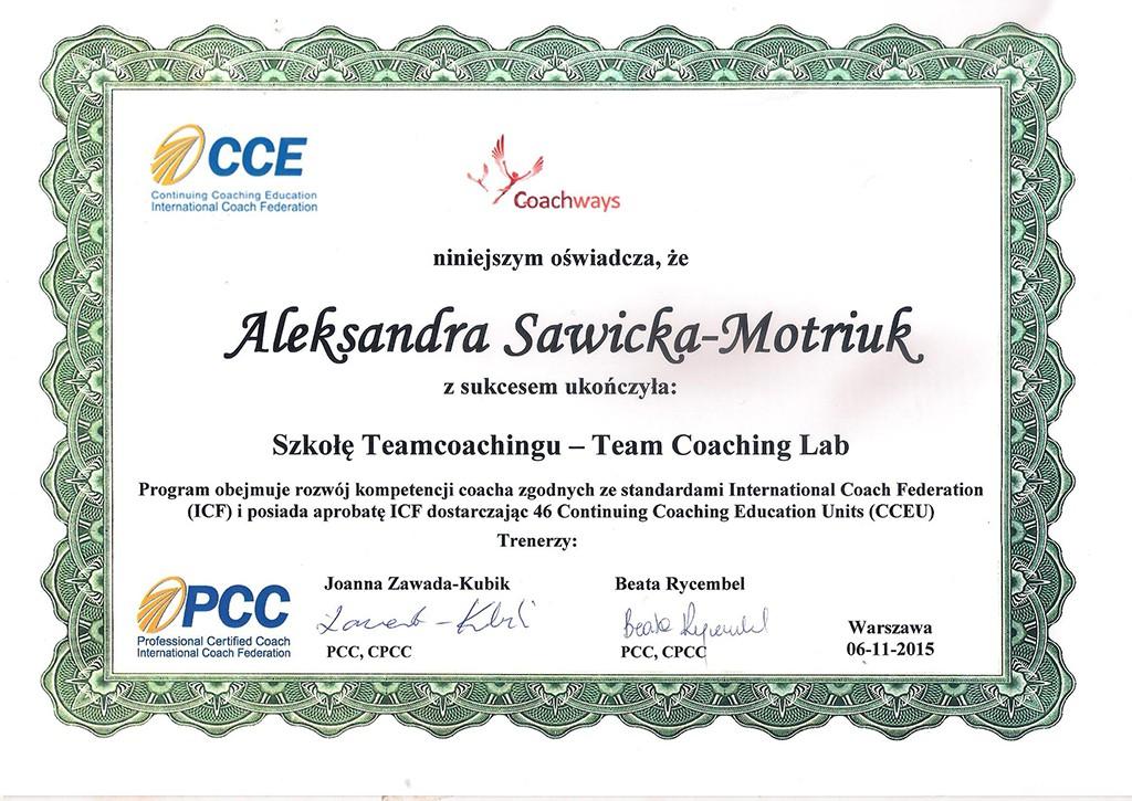 Certyfikat Team Coaching Lab