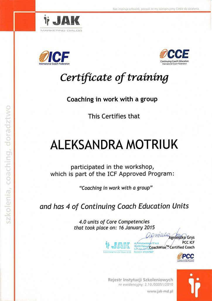 Certyfikat szkolenia coaching grupowy